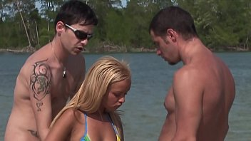 Sexy Jamaican Hot Blonde Ivy takes Two Big Dicks Anal and Hard in the Sea