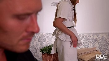 Lucky Fucka Gets A Double Blowjob By His Wife & A Maid!