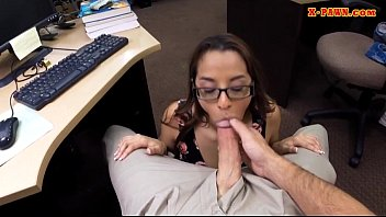 College student with glasses twat fucked