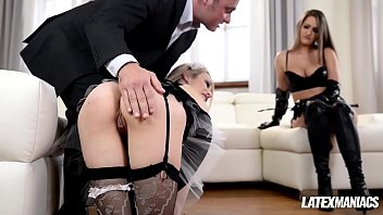 Latex domina Kendra Star dominates maid Chessie Kay in BDSM milf fuck thumbnail