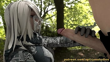 Nier A2 Handjob with experimental Fluidsim - by OpticonStudios