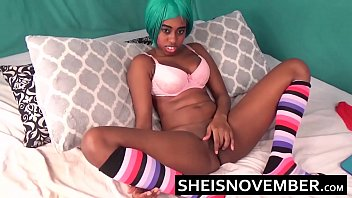 HD Cosplay Girl Msnovember Squirting Her Pretty Pink Kawaii Black Pussy With Legs Open Onto Red Panties After Pushing Panty Into Her Good Cunt Sheisnovember