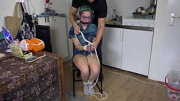 Trashy Teen GND Luna Grey Put in Rope bondage and vet wrap gagged