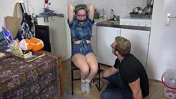 Trashy Teen GND Luna Grey Put in Rope bondage and vet wrap gagged