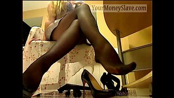 Goddess in stockings takes all my money