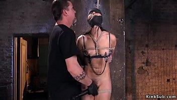 Hairy twat slave vibrated in hogtie