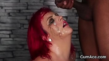 Wicked bombshell gets cum load on her face gulping all the jizm
