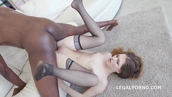 Interracial breeder slut Sexy slut ginger fox gets non stop gapes and 100 balls deep interracial anal