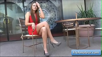 Pussy fnger - Blonde cutie amateur aveline wearing a sexy red dress fnger fuck her pierced pussy in public