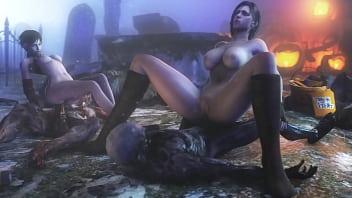 Jill Valentine And Rebecca Chambers Fuck Zombies