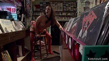 Bizarre sex records Hot brunette fucked in public shop