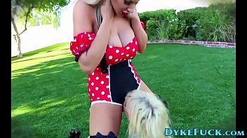 Costumed blonde lesbian blondes outdoors - 69VClub.Com