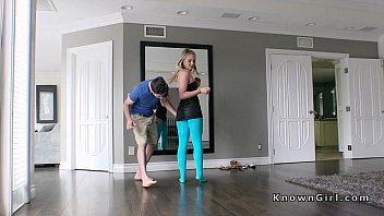 Pantyhose teen ashle - Blonde girlfriend in cut blue pantyhose fucks