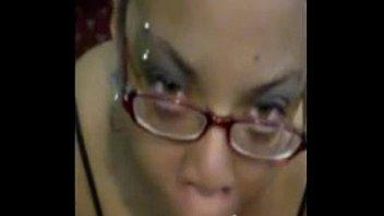 Ebony amateur sloppy blowjob with cumshot on face
