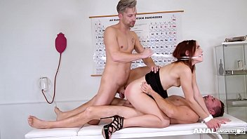 Anal inspectors at the BDSM clinic double penetrate Mina in gagging action