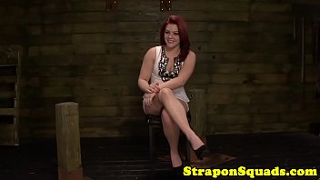 Redhead sub gagged and strapon fucked in trio