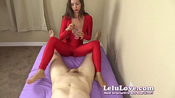 Red bottom of feet - Clothed female gives you handjob and footjob until you cum