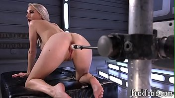 Blonde fuck toy Busty blonde pussy toyed by dildo machine