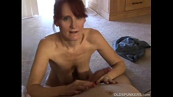 Old lady giving blow job - Skinny mature amateur sucks cock like a pro