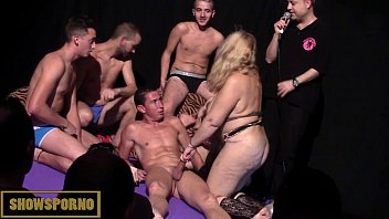 Spanish fatty blonde pornstar gang bang