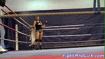 Kinky lesbian babes wrestling on the floor