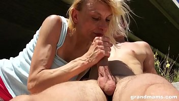 Boy fucks granny outdoors - Skinny old blonde bitch fucked outdoor by young stud on grandmams.com