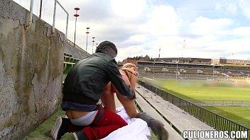 Vintage stadium helmet - Sucking and fucking in a stadium