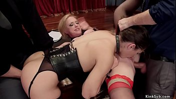 Slaves gets pussy and anal fucked