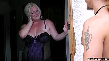 Bbw in lingerie seduces a garden worker