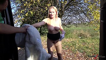 Milf secretary double pounded in driving van