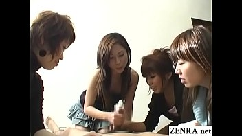 Milf humilitation - Cfnm handjob with cumshot by group of japanese women