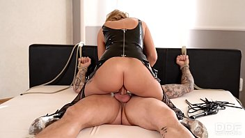 Hardcore domina sex British dominatrix stacey saran spanks and rides her submissive stud