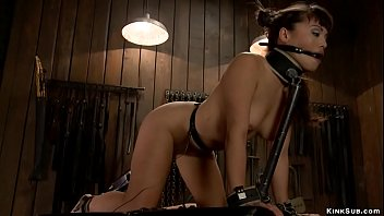 Asian slave gets ass shocked in bondage