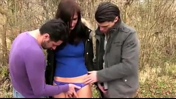 French slut outdoors drilled by two dicks