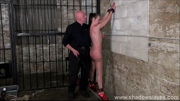 Merciless whipping of struggling amateur slave in rough spanking and beaten tits of submissive