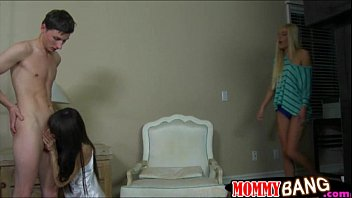 Big boobs stepmom and teen ho threesome in the bedroom