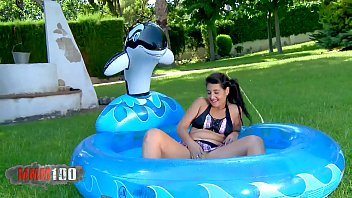 Young spanish teen in wet coton panties fucked in a pool