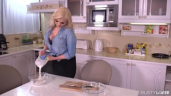 Busty kitchen pic Busty katy jayne destroys a throbbing cock in the kitchen