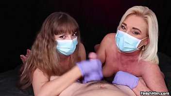 Masked Cock Milking POV Handjob with Teen and MILF - FinishHim