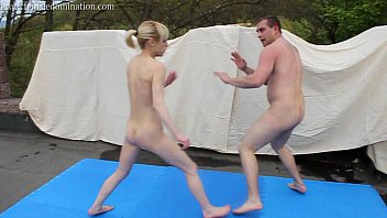 Female nude boxing Mixed kickboxing ending with loser orally pleasuring winner