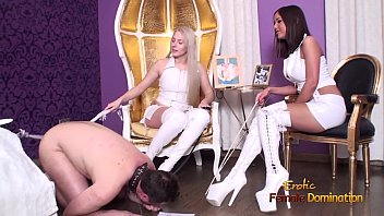 Cuckold Slave kissing boots and getting whipped