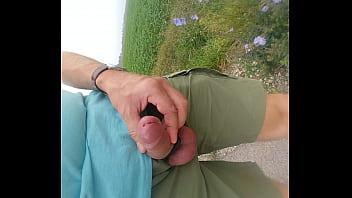 Flashing dick and masturbating