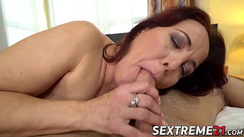 Chubby redhead granny receives facial after rough pounding