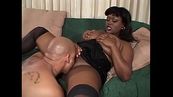 Hot tits chubby black bitch on sofa gets pussy slurped and fucked hard