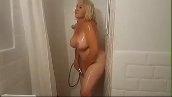 Showering with Mrs. Fina! BUSTY GILF loves being watched