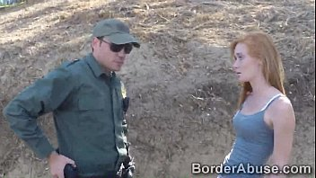 Gypsy redheaded beauty fucks police across the border