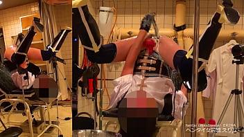 【女装】診察台でおしっこ&牛乳浣腸 噴水オナニー|えりな【変態】