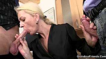 Mature mom boy Old bitch swallows two dicks for work