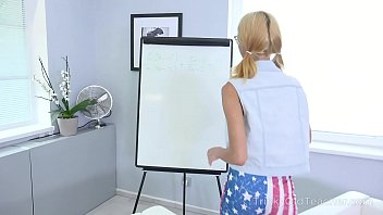 Board cgiworld dreamwiz teen Cameraman shoots a blonde in glasses writing on the white board