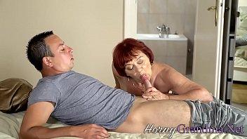 Redheaded old slut sucks cock for cum